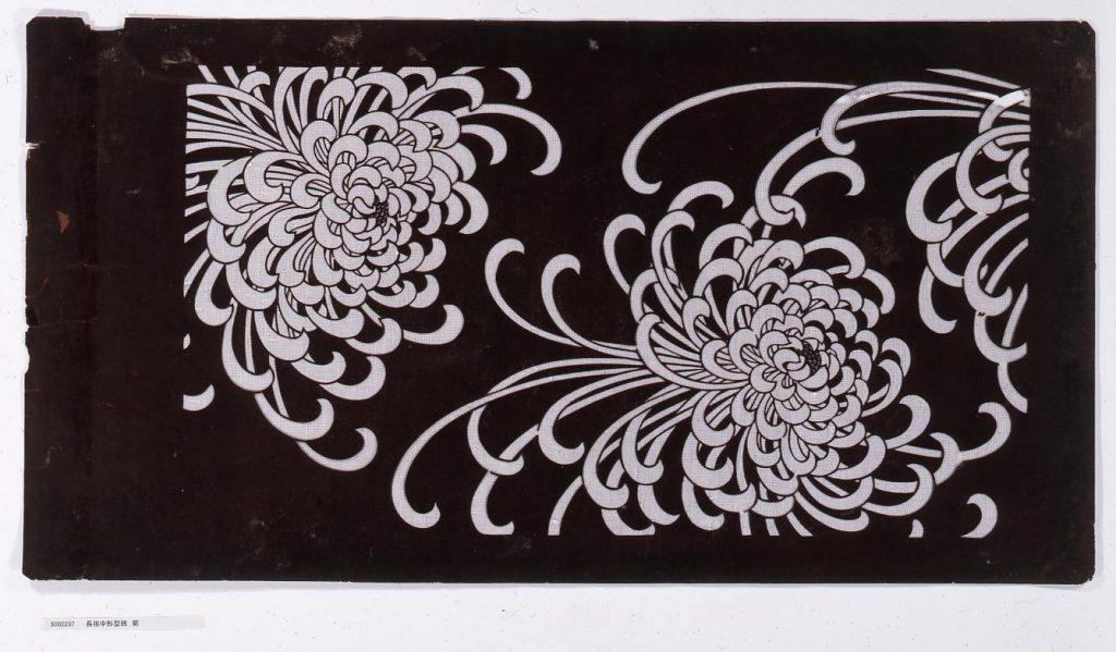長板中形型紙 菊