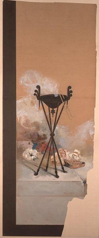 作品画像:下絵 シ-ザ-の剣と兜(燭台部分   彩色)