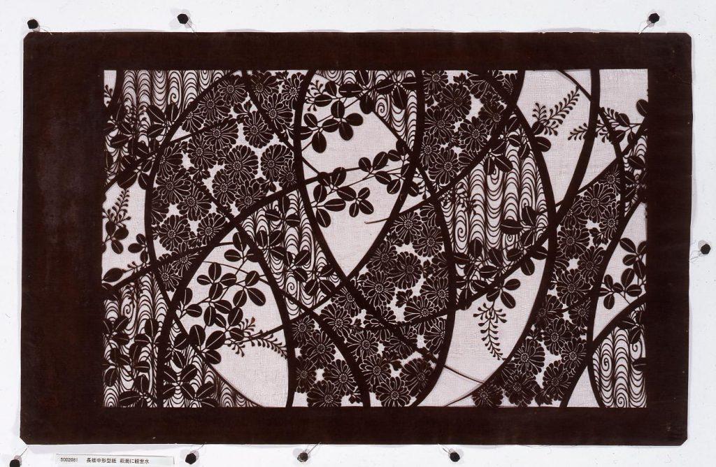 作品画像:長板中形型紙 萩菊に観世水
