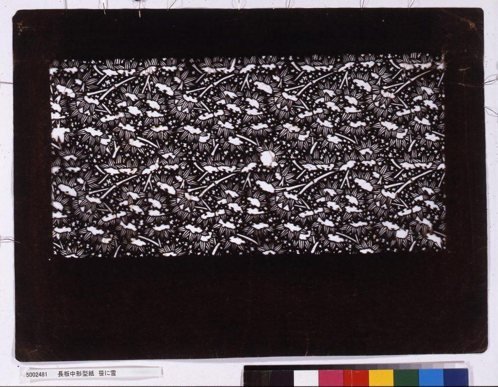 作品画像:長板中形型紙 笹に雪