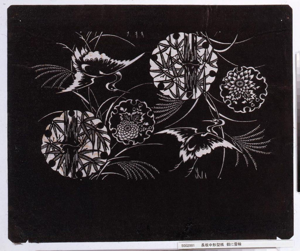 作品画像:長板中形型紙 鶴に雪輪