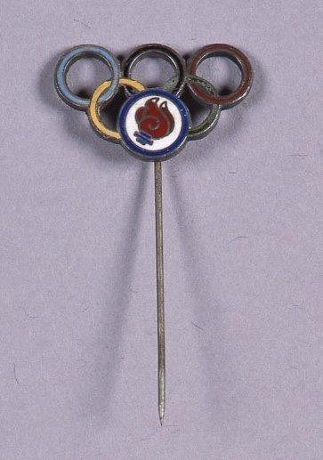 作品画像:第18回オリンピック競技大会 ピンバッジ(五輪・聖火デザイン)