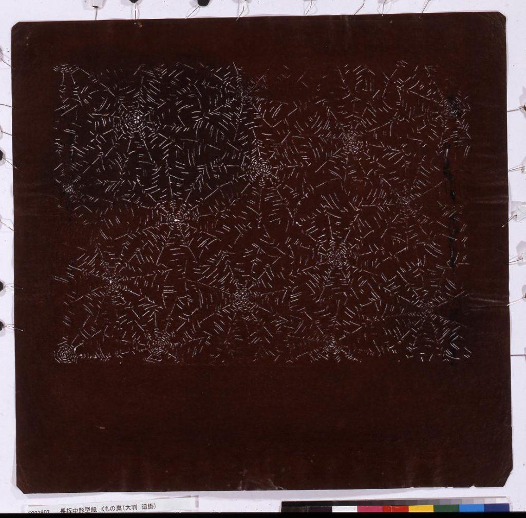 作品画像:長板中形型紙 くもの巣(角判 追掛)