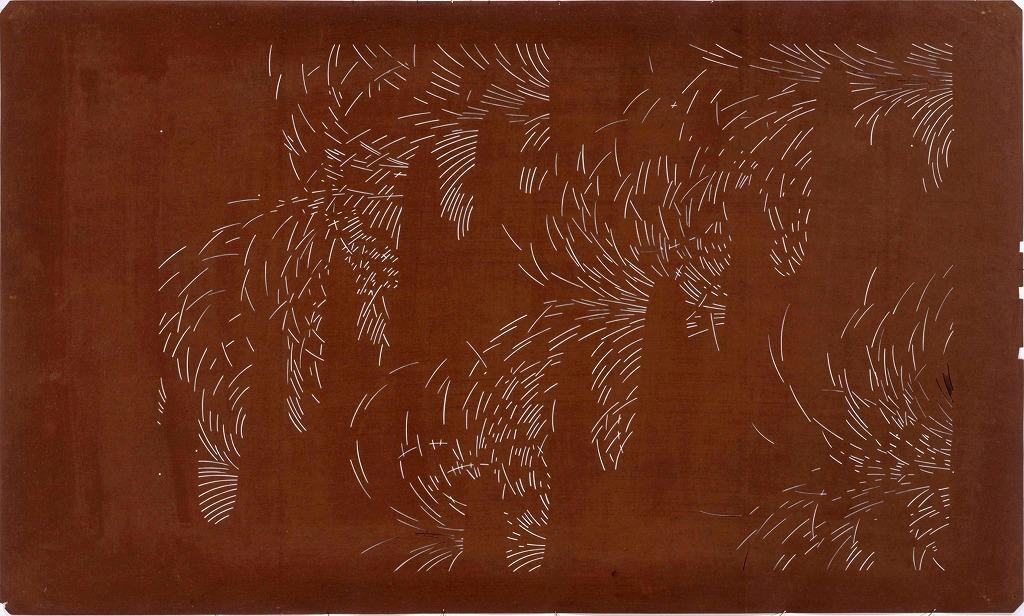 作品画像:長板中形型紙 すすきに雲取(大判 追掛)