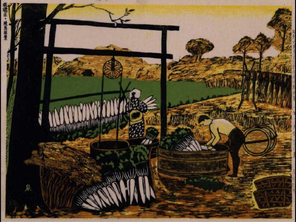 作品画像:昭和大東京百図絵版画 第七十三景 板橋区・練馬風景