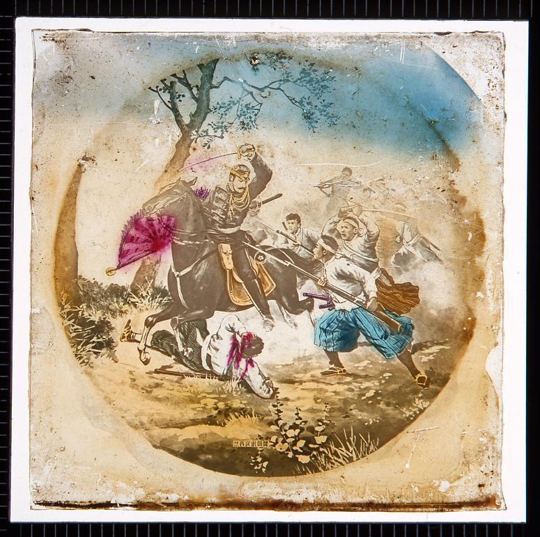 作品画像:馬に乗る軍人と少年兵士(幻燈原板)