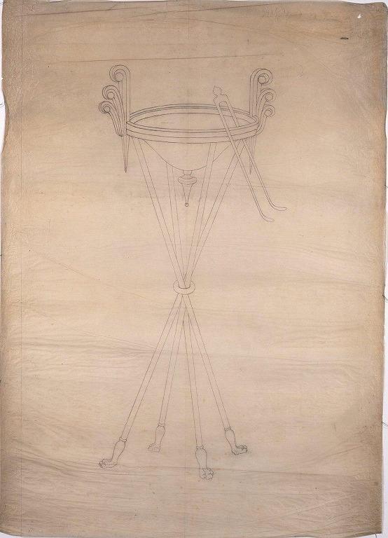作品画像:下絵 シ-ザ-の剣と兜(燭台部分)