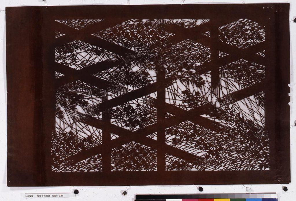 作品画像:長板中形型紙 籠目に桔梗