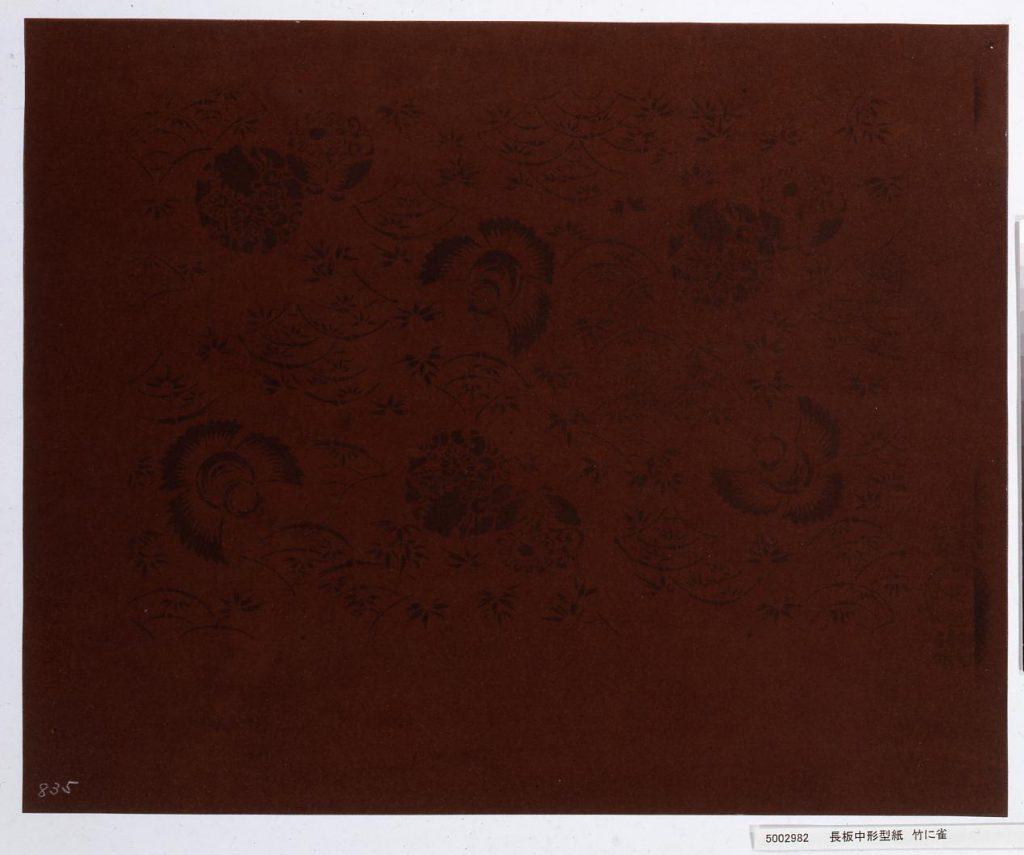 作品画像:長板中形型紙 竹に雀