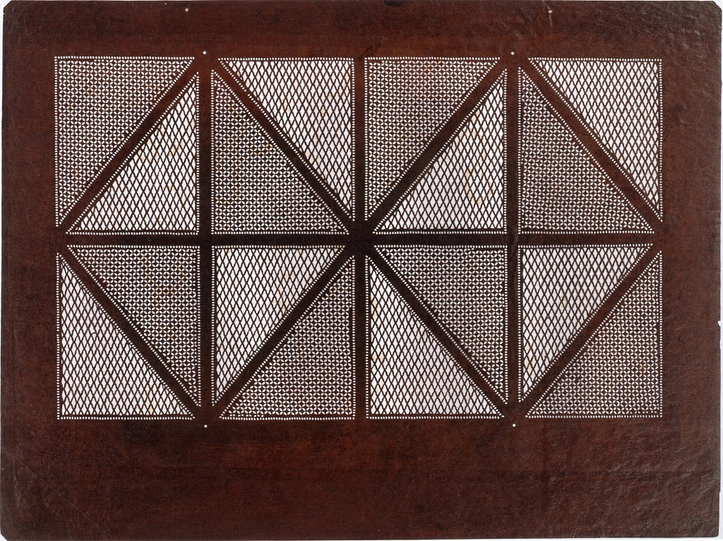 作品画像:長板中形型紙 格子に小紋