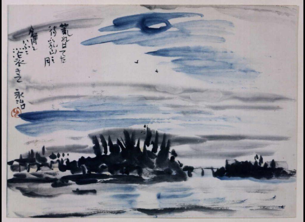 作品画像:関東大地震画 荒れはてた待乳山の月 名月といふに浴衣きて