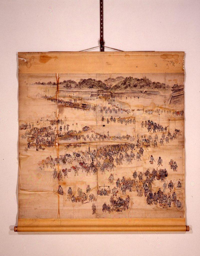 作品画像:[江戸城正月登城図 下絵 門前の賑い]