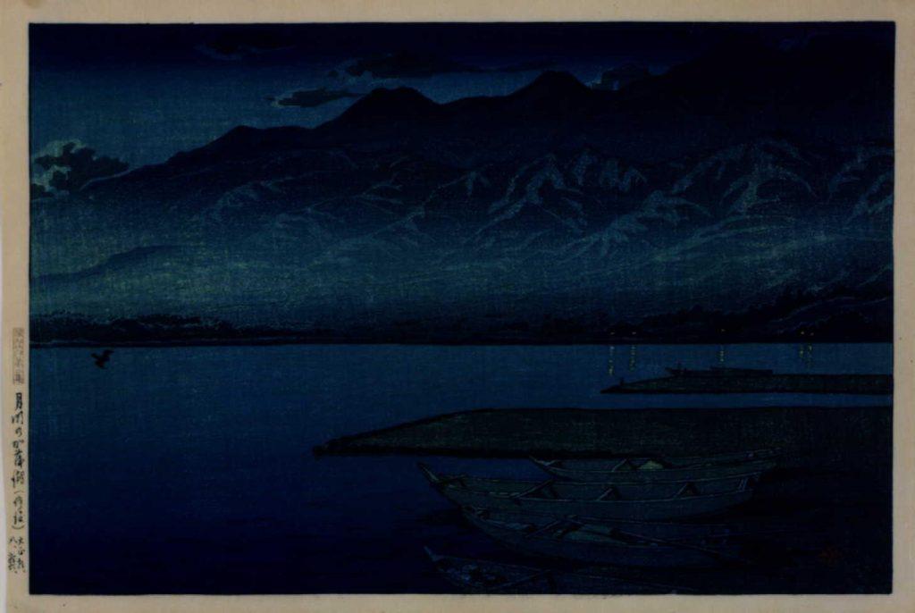 作品画像:旅みやげ第二集 月明の加茂湖(佐渡)