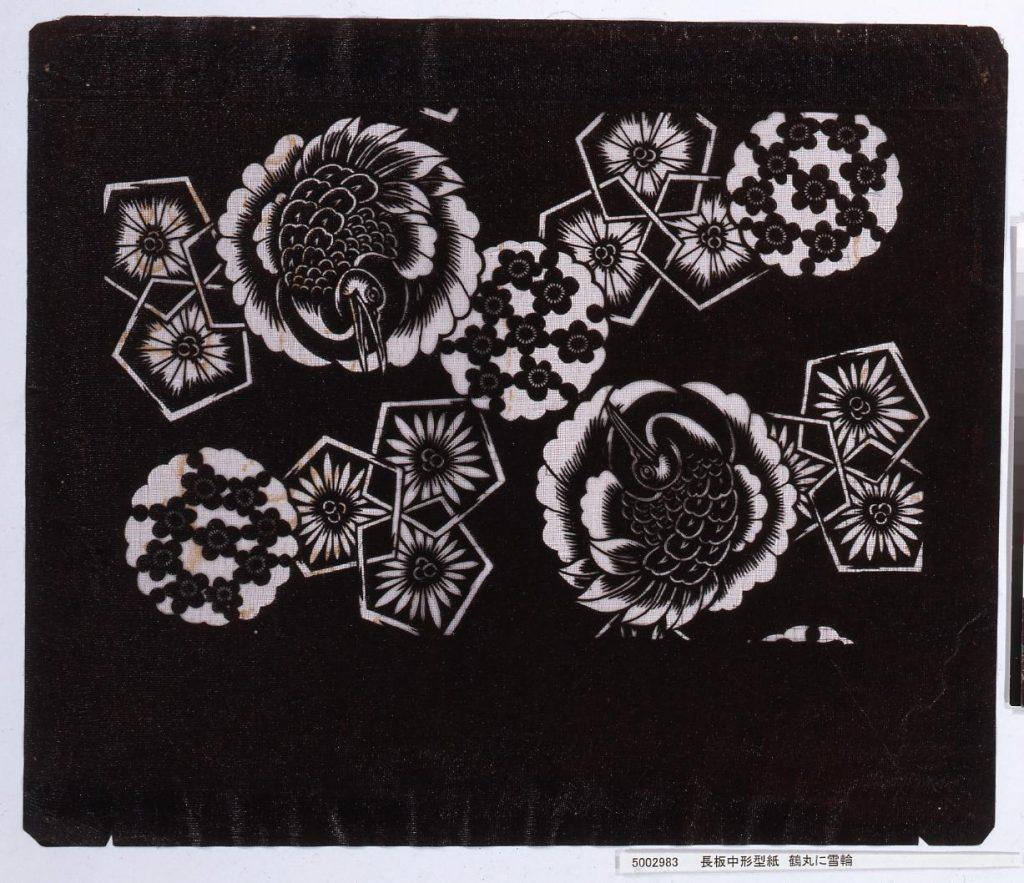 作品画像:長板中形型紙 鶴丸に雪輪