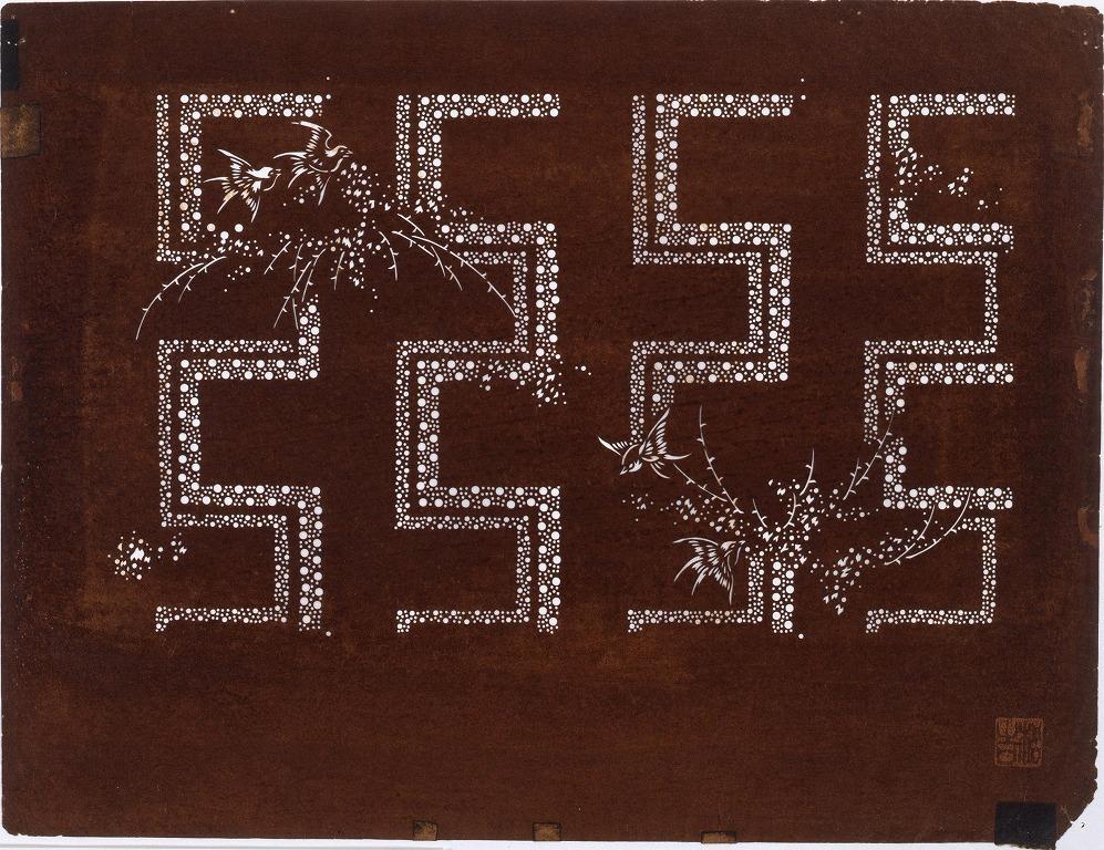 作品画像:長板中形型紙 雀にかぎ形