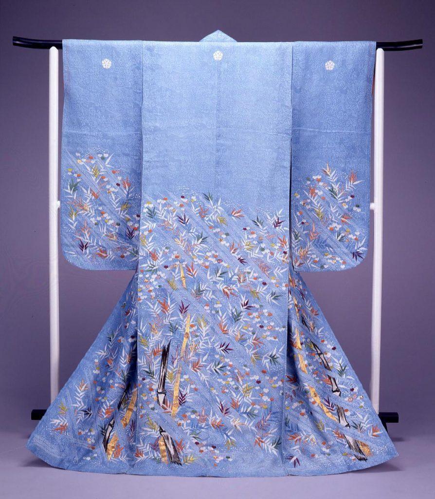 作品画像:水浅葱紋絽地嵐に竹模様御所解振袖
