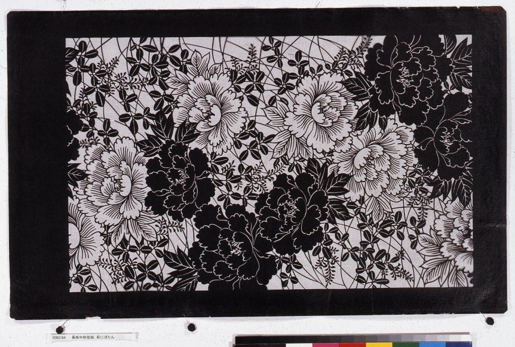 作品画像:長板中形型紙 萩にぼたん