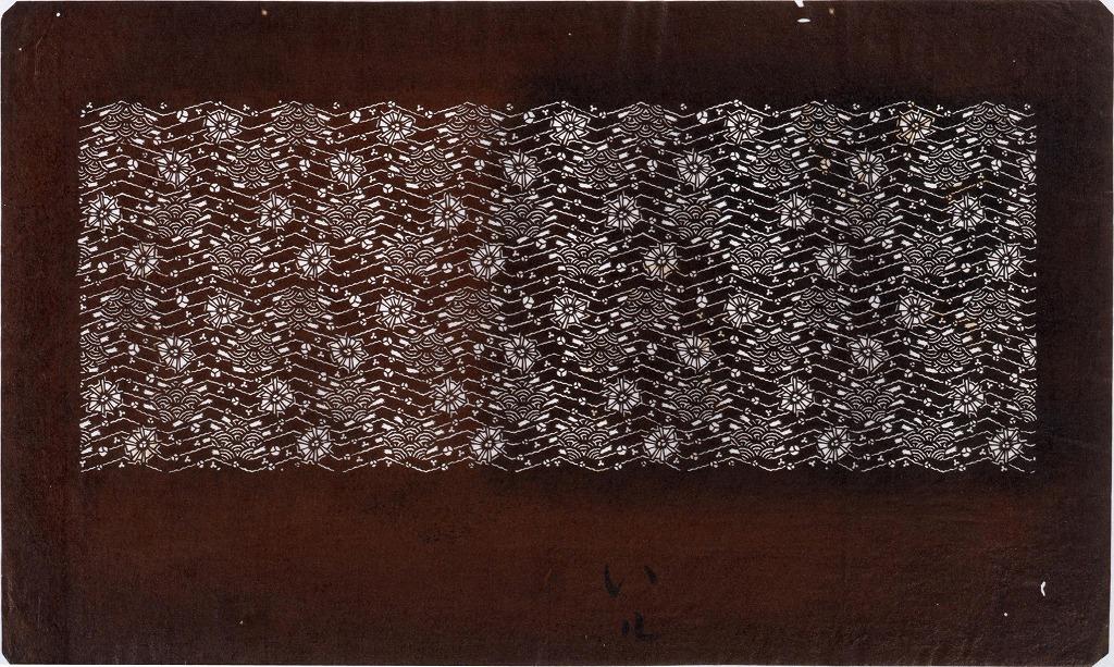 作品画像:長板中形型紙 小紋浪形