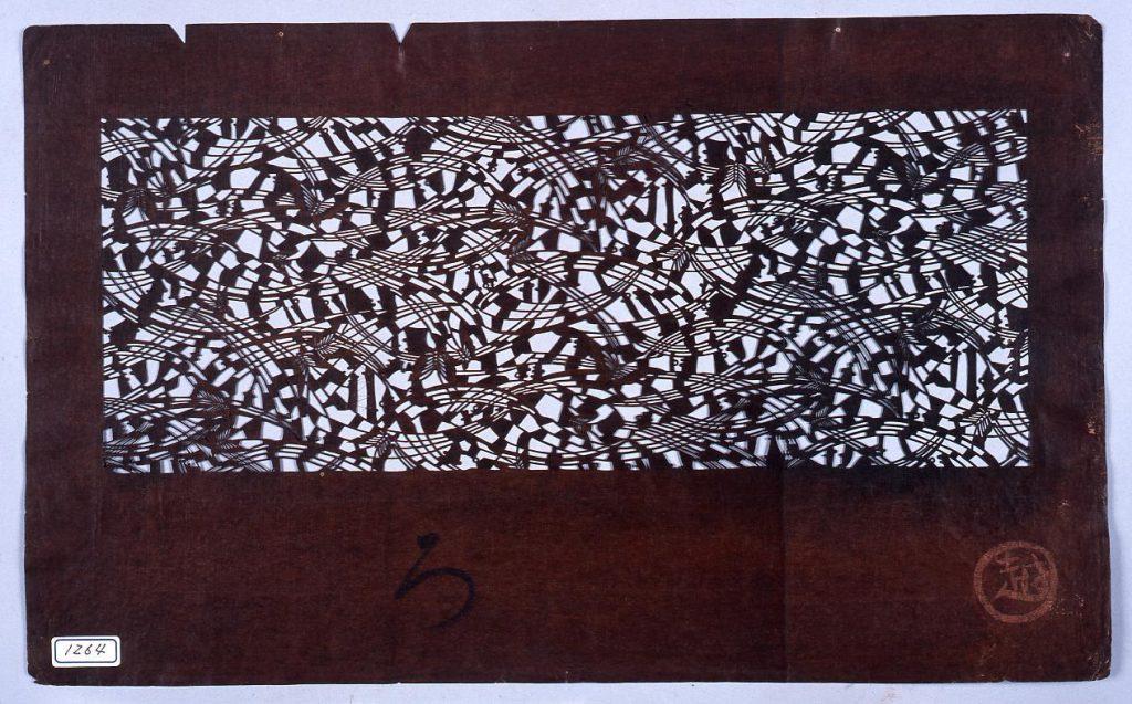 作品画像:長板中形型紙 蝶に芝 (小判 追掛)