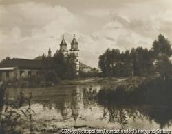 作品画像:郷愁の異人池と教会