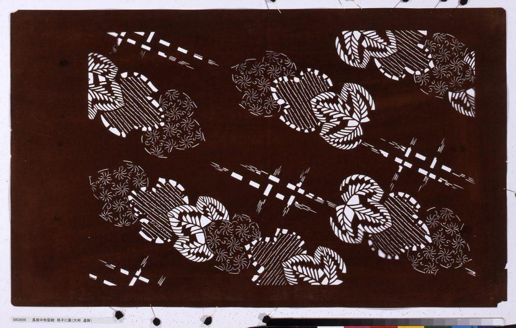 長板中形型紙 格子に葉(大判 追掛)