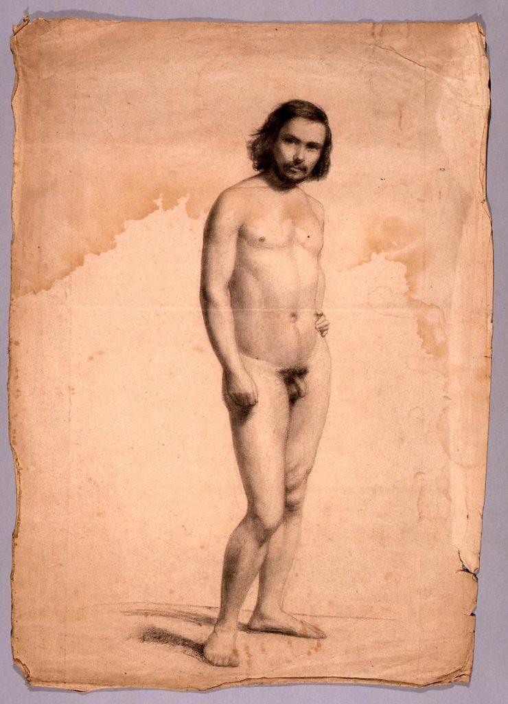 作品画像:素描 男性立像