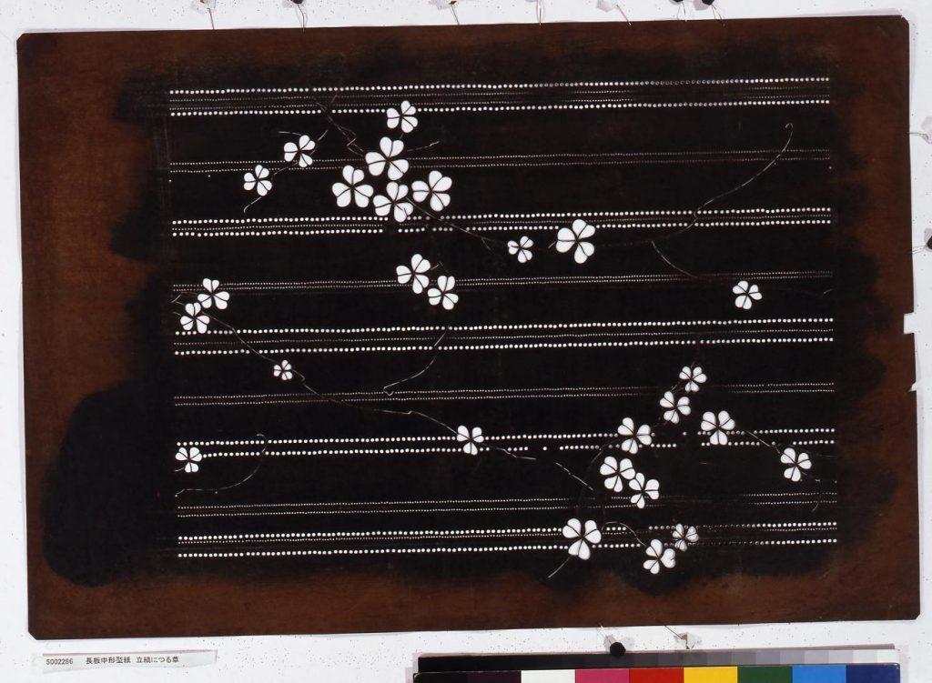 作品画像:長板中形型紙 立縞につる草