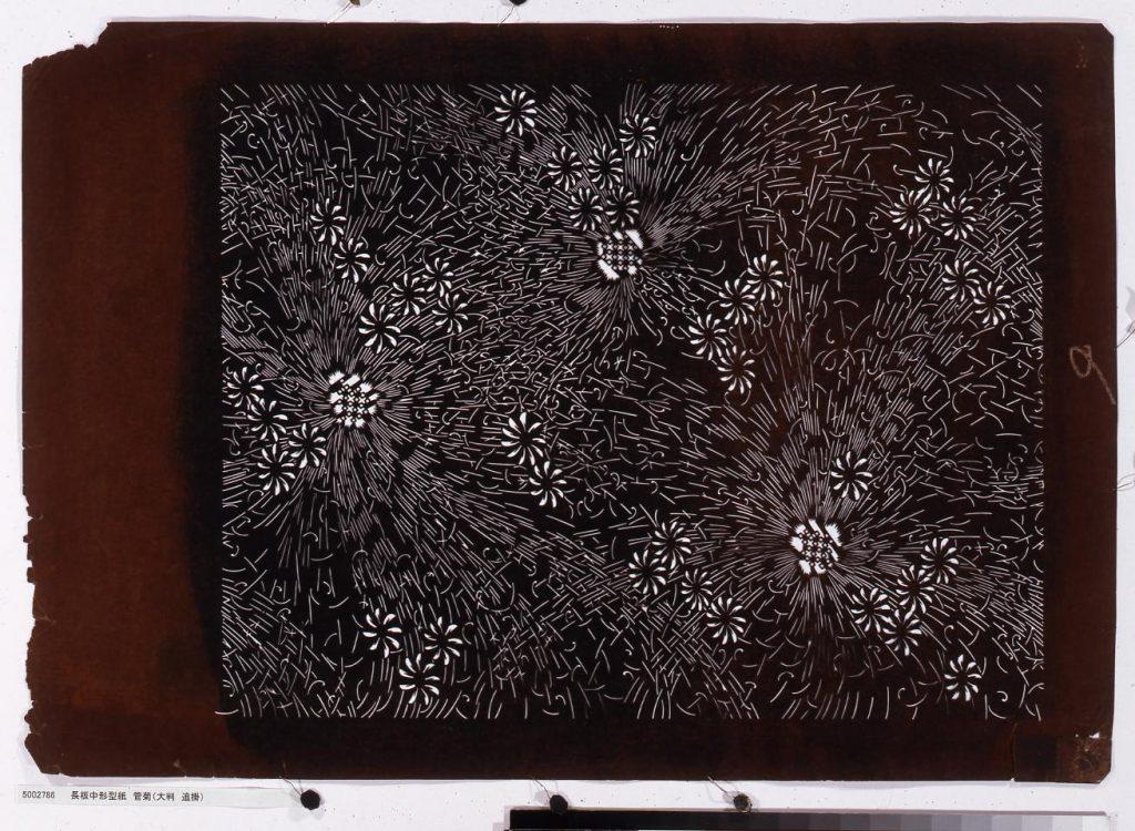作品画像:長板中形型紙 管菊(大判 追掛)