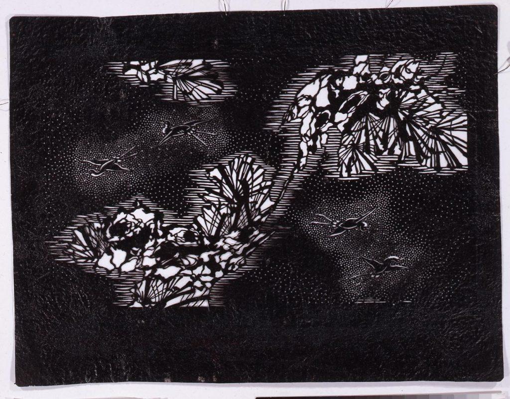 作品画像:長板中形型紙 松に鶴