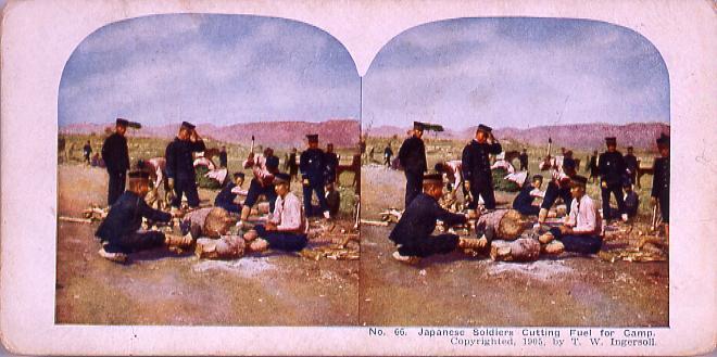 作品画像:Japanese Soldiers Cutting Fuel for Camp.(No.66)