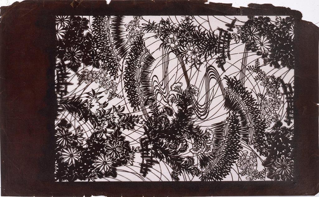 作品画像:長板中形型紙 柴垣に秋草