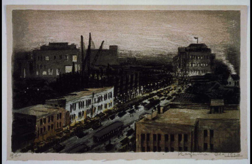 作品画像:画集 新宿 第一図 ほていや六階から新宿三越むさしの館遠望図