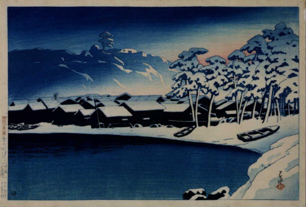 作品画像:旅みやげ第二集 雪の明ぼの(佐渡小木港)