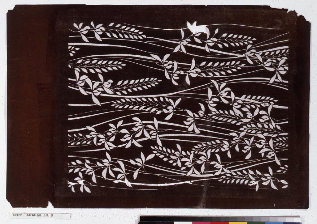 作品画像:長板中形型紙 立涌に蘭