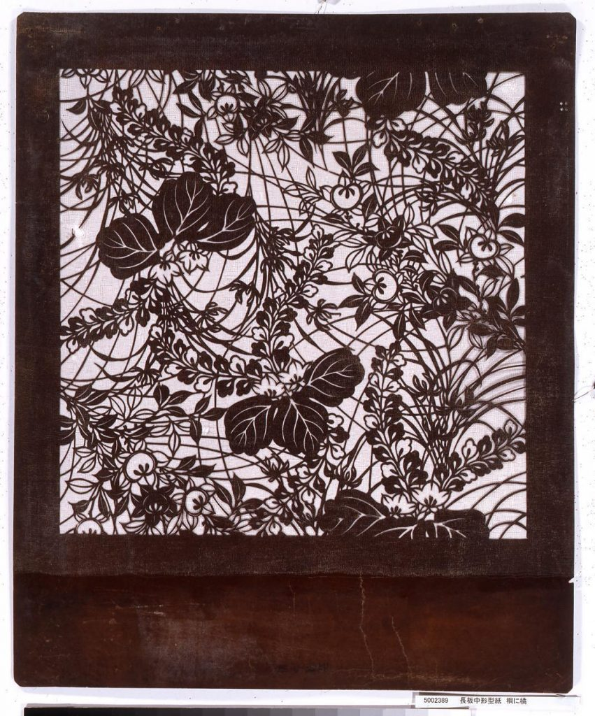 長板中形型紙 桐に橘
