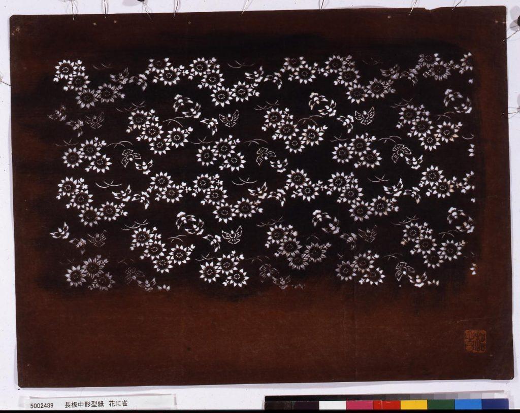 作品画像:長板中形型紙 花に雀