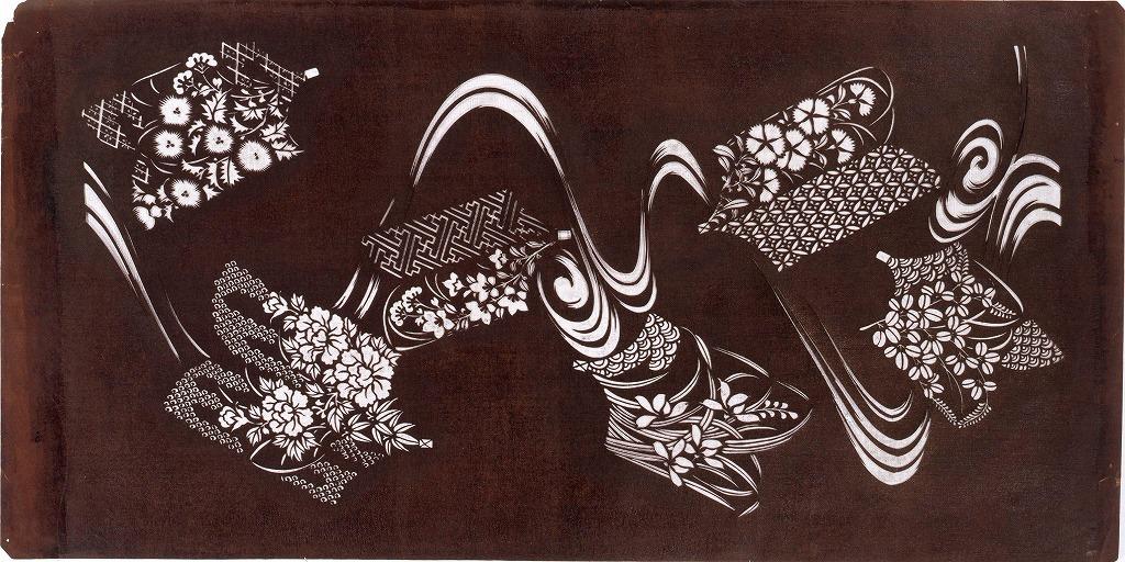 作品画像:長板中形型紙 流れに本模様