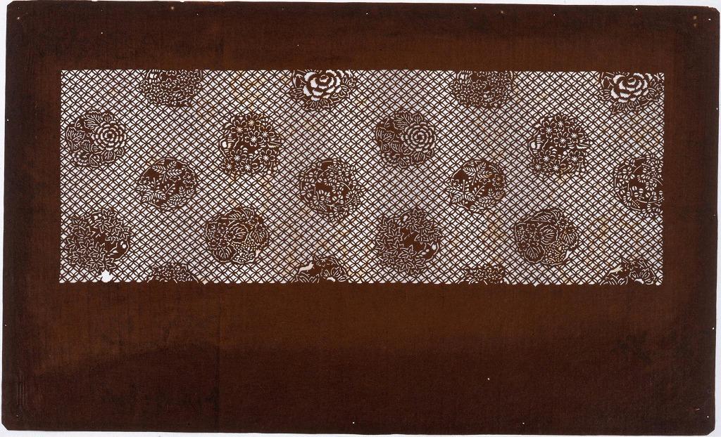 作品画像:長板中形型紙 七宝に丸文