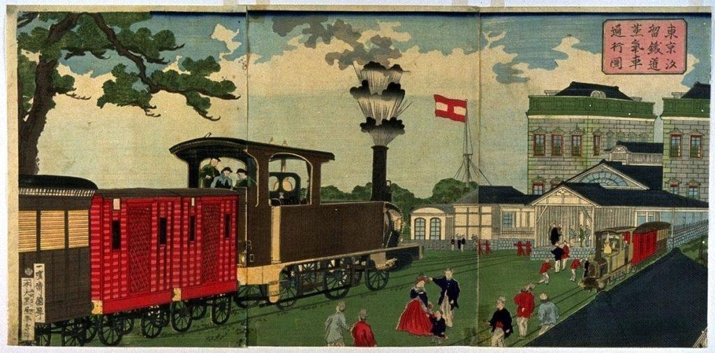 作品画像:東京汐留鉄道蒸汽車図