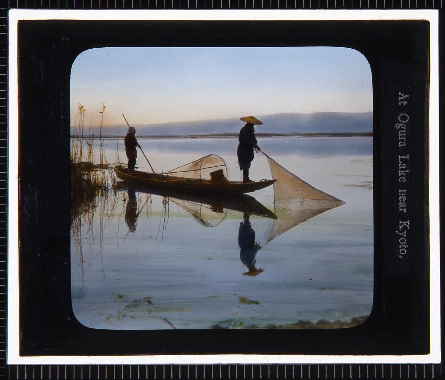 作品画像:京都 小倉湖(幻燈原板)