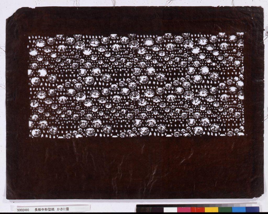 長板中形型紙 かさに雪