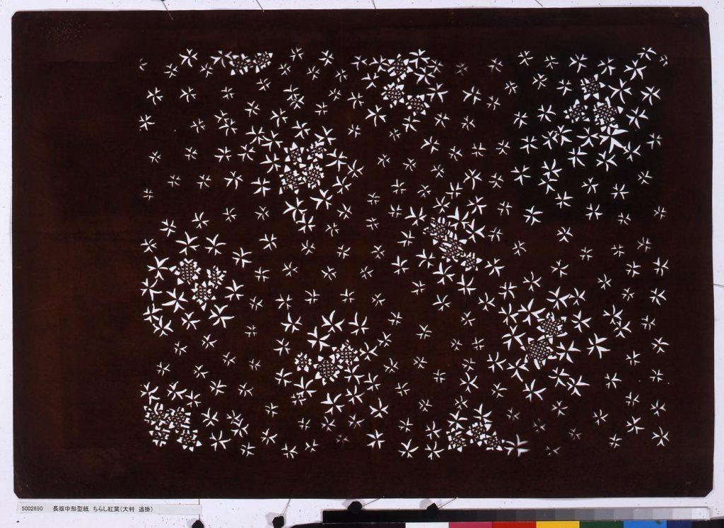 作品画像:長板中形型紙 ちらし紅葉(大判 追掛)