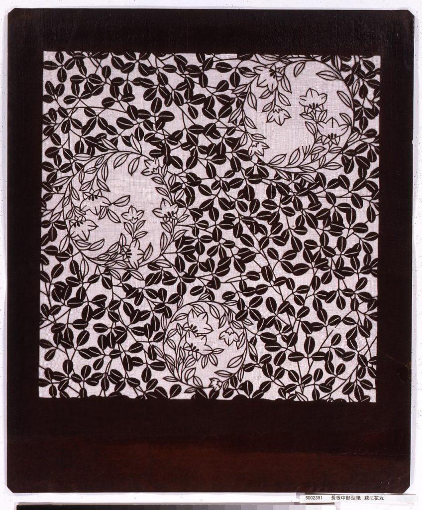 作品画像:長板中形型紙 萩に花丸