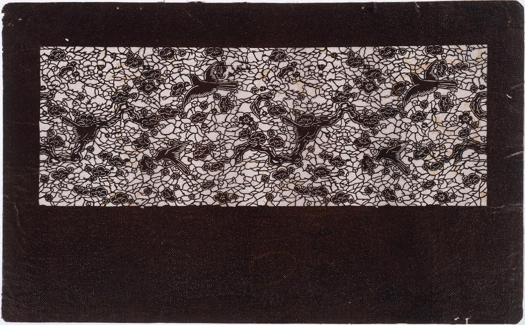 作品画像:長板中形型紙 梅にうぐいす