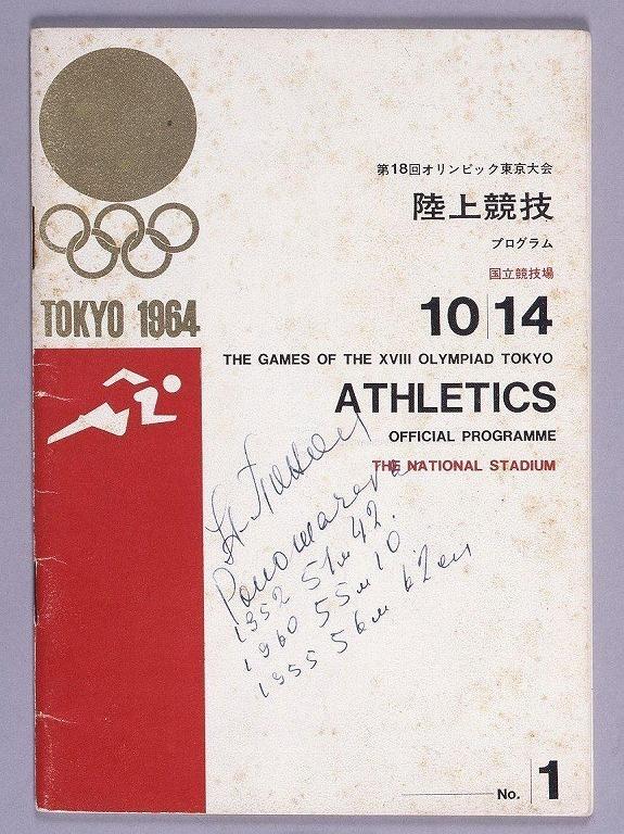 作品画像:第18回オリンピック東京大会 陸上競技プログラム(タマラ・プレスのサイン入)
