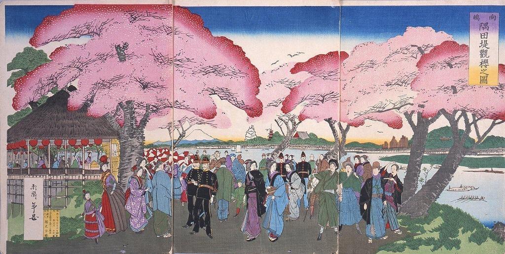 作品画像:向島隅田堤観桜之図
