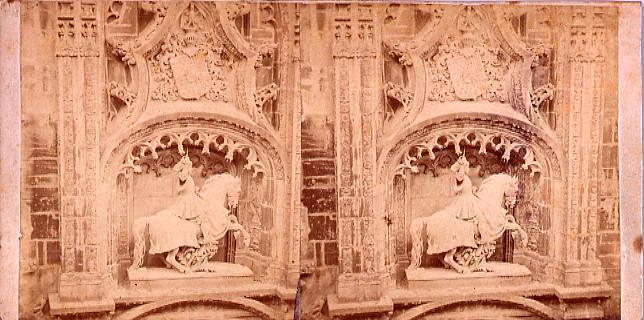 作品画像:外国製ステレオ写真 彫刻、馬上の騎士