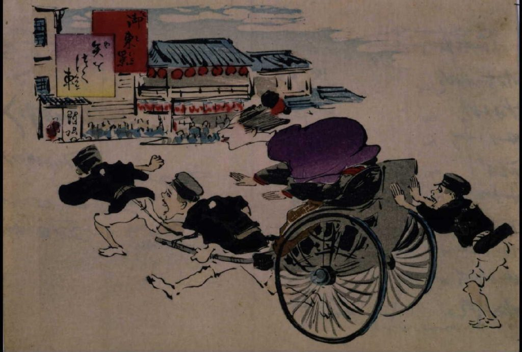 作品画像:御東景 矢をつく車