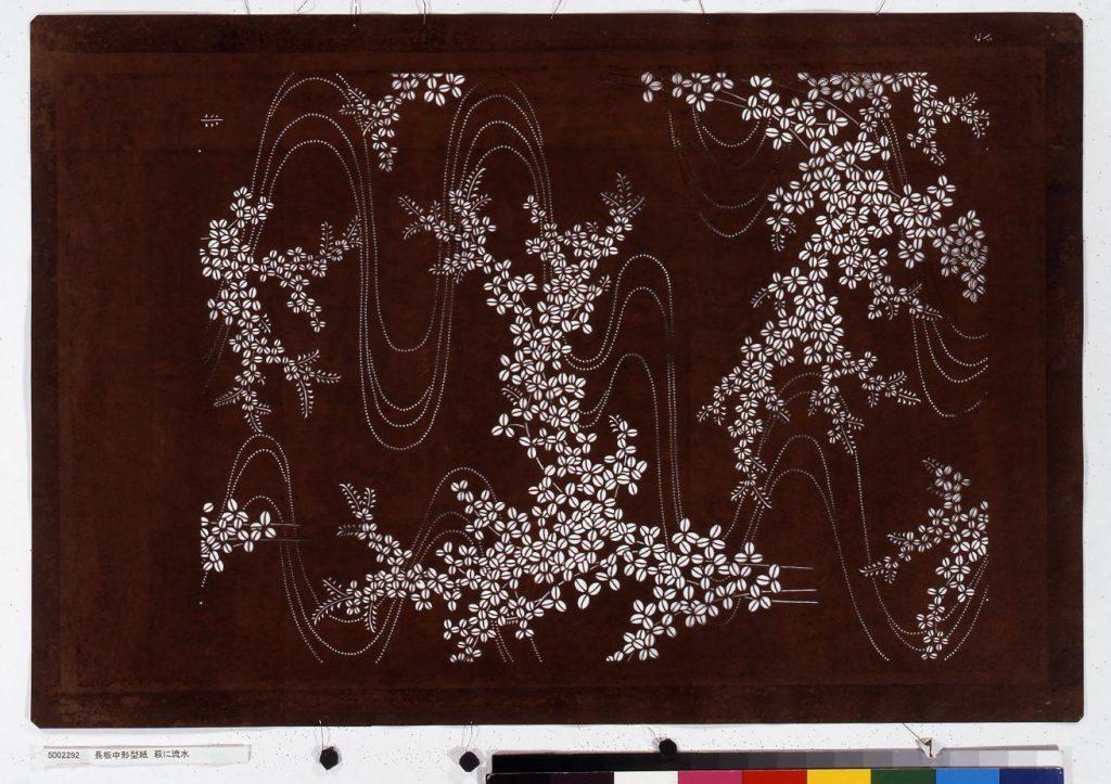 作品画像:長板中形型紙 萩に流水