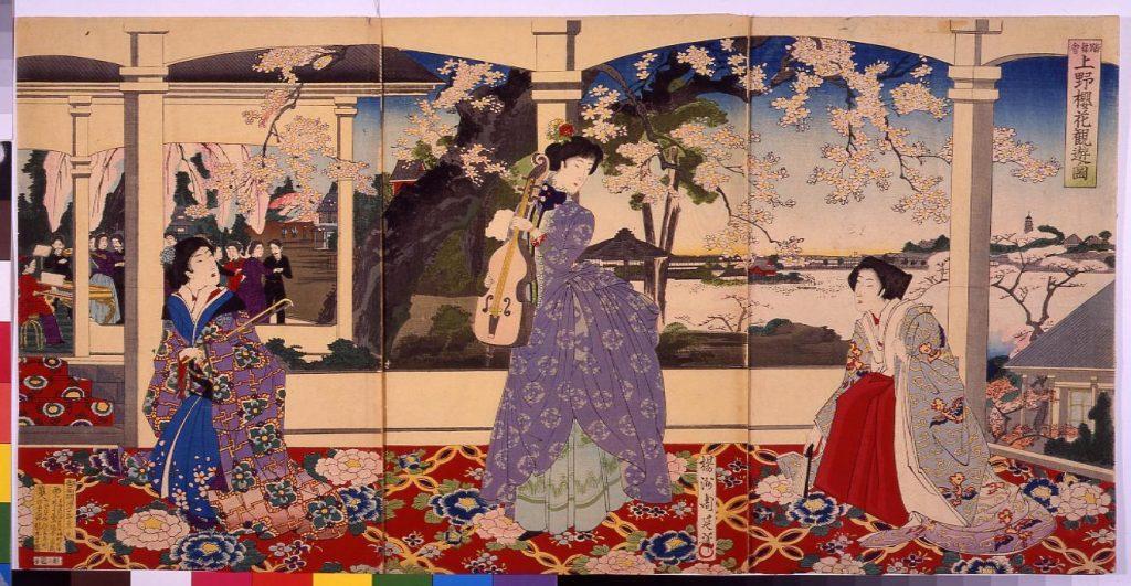 作品画像:踏舞会 上野桜花観遊ノ図